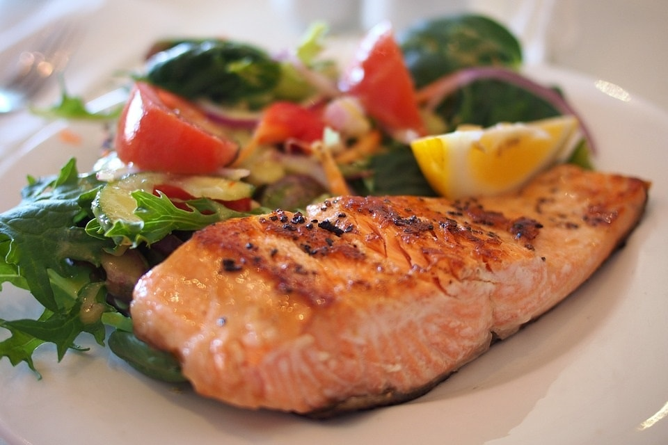 Salmon with side salad